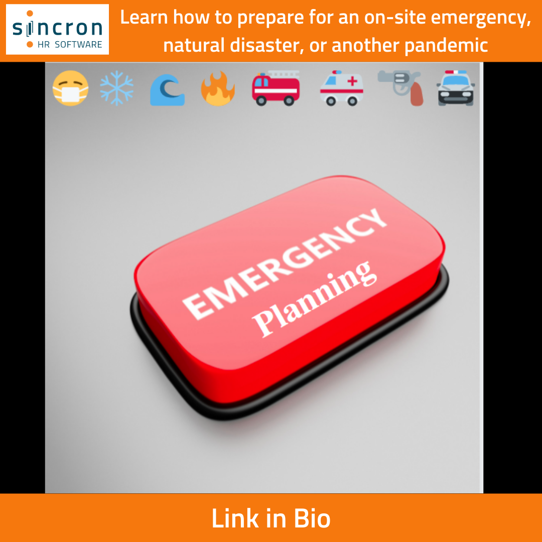 Sincron HR Blog - Safety Series: Emergency Planning - Red emergency button with small emergency emoji's